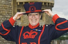 The first female Beefeater, Yeoman Warder Moira Cameron.