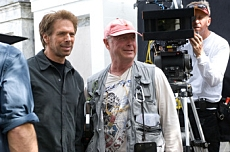 Producer Jerry Bruckheimer and director Tony Scott on the set of DEJA VU. Photo Credit: Robert Zuckerman. © TOUCHSTONE PICTURES and JERRY BRUCKHEIMER INC. ALL RIGHTS RESERVED.