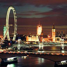 The London Eye at Night. View from Swissotel: The Howard