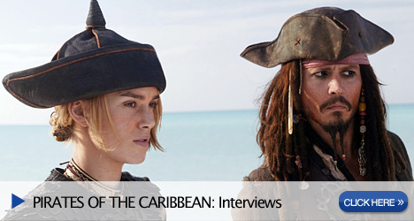 Elizabeth Swan (Keira Knightley) and Captain Jack Sparrow (Johnny Depp), in a scene from PIRATES OF THE CARIBBEAN: AT WORLD'S END, directed by Gore Verbinski and produced by Jerry Bruckheimer, from a screenplay written by Ted Elliott & Terry Rossio. Photographer: Peter Mountain. © Disney Enterprises, Inc. All Rights Reserved