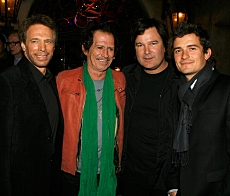 Producer Jerry Bruckheimer, musician/actor Keith Richards, Director Gore Verbinski and actor Orlando Bloom at the World Premiere of Pirates Of The Caribbean: At World's End at Disneyland on May 19th, 2007 in Anaheim, California. Kevin Winter. 2007 Disney Enterprises, Inc. All Rights Reserved