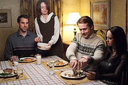 Paul Schneider, Emily Mortimer, Ryan Gosling and Bianca in Lars And the real Girl. Verve Pictures
