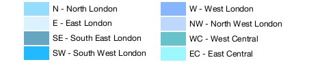 London Map. Postcodes and London areas