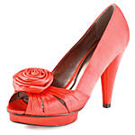 Red Satin Rose Pleat Shoes. Dorothy Perkins