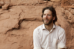 Aron Ralston on set of 127 Hours. Pathe Production UK & Ireland