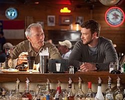 Trouble with the Curve Competition. CLINT EASTWOOD as Gus and JUSTIN TIMBERLAKE as Johnny in Trouble with the Curve. Photo Credit: Keith Bernstein. Copyright: (C) 2012 WARNER BROS. ENTERTAINMENT, INC.