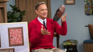 Tom Hanks as Fred Rogers in A Beautiful Day In The Neighborhood, directed by Marielle Heller. Photo: Lacey Terrell. Copyright: 2019 CTMG, Inc. All Rights Reserved.