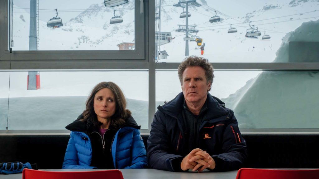 Julia Louis-Dreyfus as Billie Stanton and Will Ferrell as Pete Stanton in Downhill, directed by Nat Faxon and Jim Rash. Photo: Jaap Buitendijk. Copyright: 2019 Twentieth Century Fox Film Corporation. All Rights Reserved.