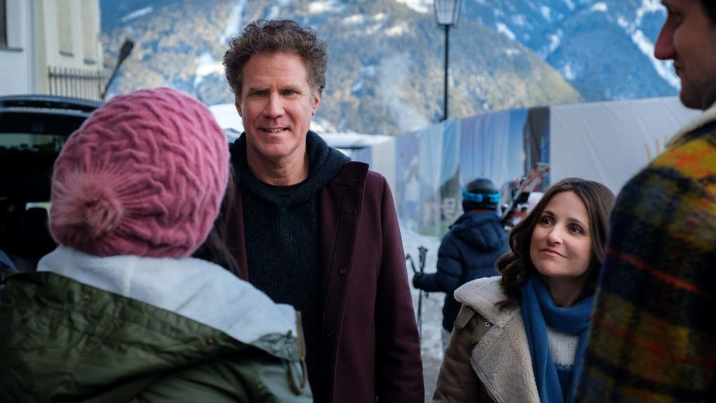 Will Ferrell as Pete Stanton and Julia Louis-Dreyfus as Billie Stanton in Downhill, directed by Nat Faxon and Jim Rash. Photo: Jaap Buitendijk. Copyright: 2019 Twentieth Century Fox Film Corporation. All Rights Reserved.