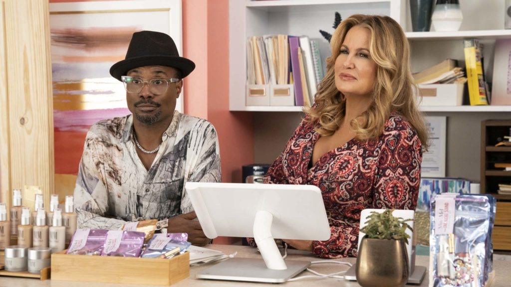 Billy Porter as Barrett and Jennifer Coolidge as Sydney in Like A Boss, directed by Miguel Arteta. Photo: Eli Joshua Ade. Copyright: 2019 Paramount Pictures Corporation. All Rights Reserved.