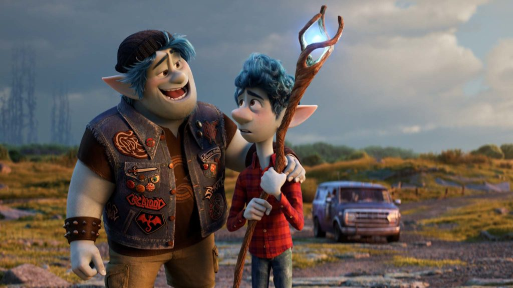 Barley Lightfoot (voiced by Chris Pratt) and Ian Lightfoot (Tom Holland) in Onward, directed by Dan Scanlon. Photo: courtesy Disney Pixar. Copyright: 2020 Disney Pixar. All Rights Reserved.