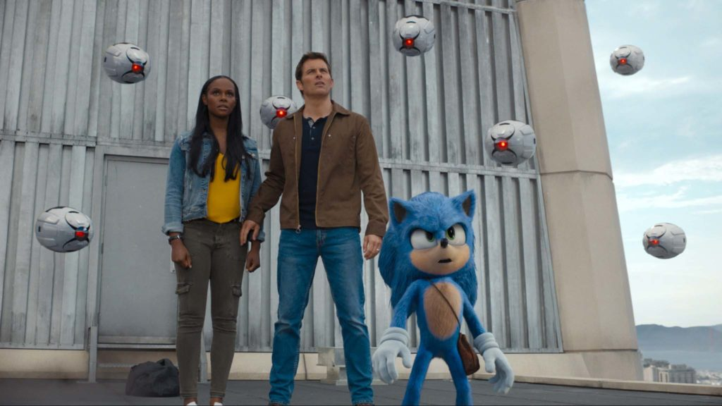 Tika Sumpter as Maddie Wachowski, James Marsden as Tom Wachowski and Sonic (voiced by Ben Schwartz) in Sonic The Hedgehog, directed by Jeff Fowler. Photo: courtesy Paramount Pictures. Copyright: 2020 Paramount Pictures Corporation/Sega of America, Inc. All Rights Reserved.