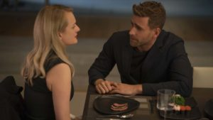 Elisabeth Moss as Cecilia Kass and Oliver Jackson-Cohen as Adrian Griffin in The Invisible Man, directed by Leigh Whannell. Photo: Mark Rogers. Copyright: 2020 Universal Pictures. All Rights Reserved.