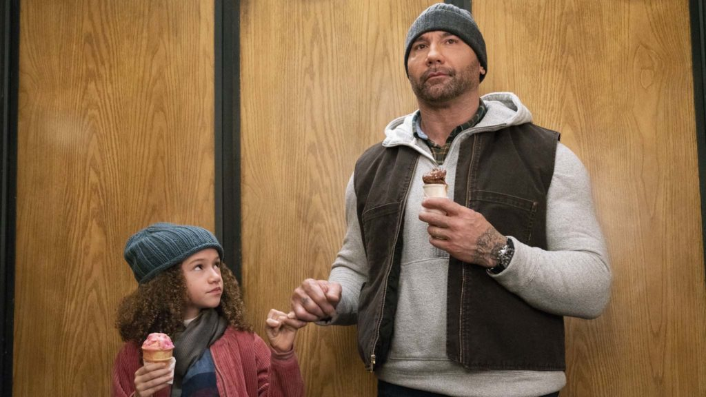 Chloe Coleman as Sophie Newton and Dave Bautista as JJ in My Spy, directed by Peter Segal. Photo: Michael Gibson. Copyright: 2018 STX Financing, LLC. All Rights Reserved.