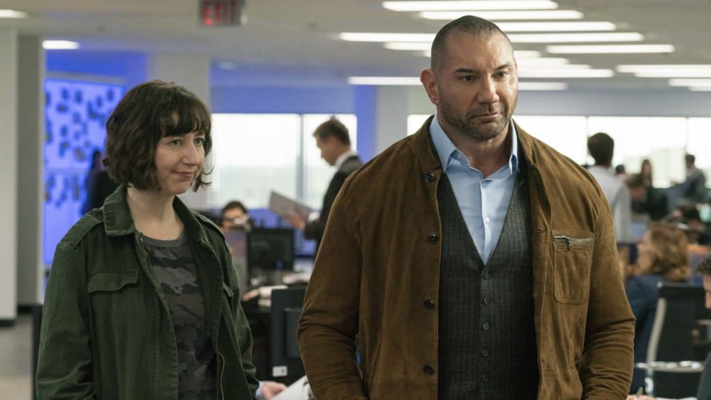 Kristen Schaal as Bobbi Ault and Dave Bautista as JJ in My Spy, directed by Peter Segal. Photo: Michael Gibson. Copyright: 2018 STX Financing, LLC. All Rights Reserved.