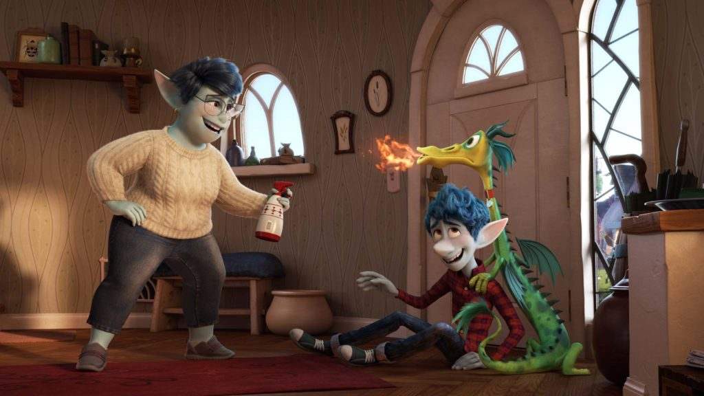 Laurel Lightfoot (voiced by Julia Louis-Dreyfus) and Ian Lightfoot (Tom Holland) in Onward, directed by Dan Scanlon. Photo: courtesy Disney Pixar. Copyright: 2020 Disney Pixar. All Rights Reserved.
