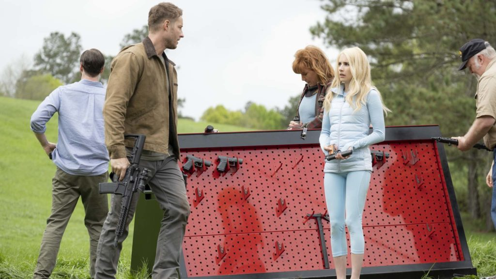 Justin Hartley and Emma Roberts in The Hunt, directed by Craig Zobel. Photo: Patti Perret. Copyright: Universal Pictures. All Rights Reserved.