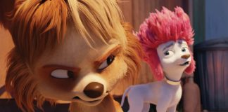 Batty (voiced by Samara Weaving) and Freddy Lupin (Ilai Swindells) in his poodle form in 100% Wolf, directed by Alexs Stadermann. Copyright: Vertigo Releasing. All Rights Reserved.