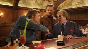 Brad Pitt as Cliff Booth, Leonardo DiCaprio as Rick Dalton and Al Pacino as Marvin Schwarz in Once Upon A Time… In Hollywood, directed by Quentin Tarantino. Photo: Andrew Cooper. Copyright: 2018 CTMG, Inc. All Rights Reserved.