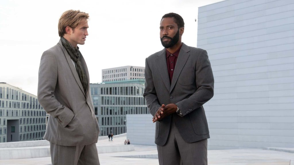 Robert Pattinson and John David Washington in Tenet, directed by Christopher Nolan. Photo: Melinda Sue Gordon. Copyright: 2020 Warner Bros. Entertainment Inc. All Rights Reserved.