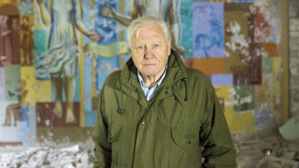 David Attenborough in Chernobyl in the documentary David Attenborough: A Life On Our Planet, directed by Alastair Fothergill, Jonnie Hughes and Keith Scholey. Photo: Joe Fereday. Copyright: Silverback Films. All Rights Reserved.