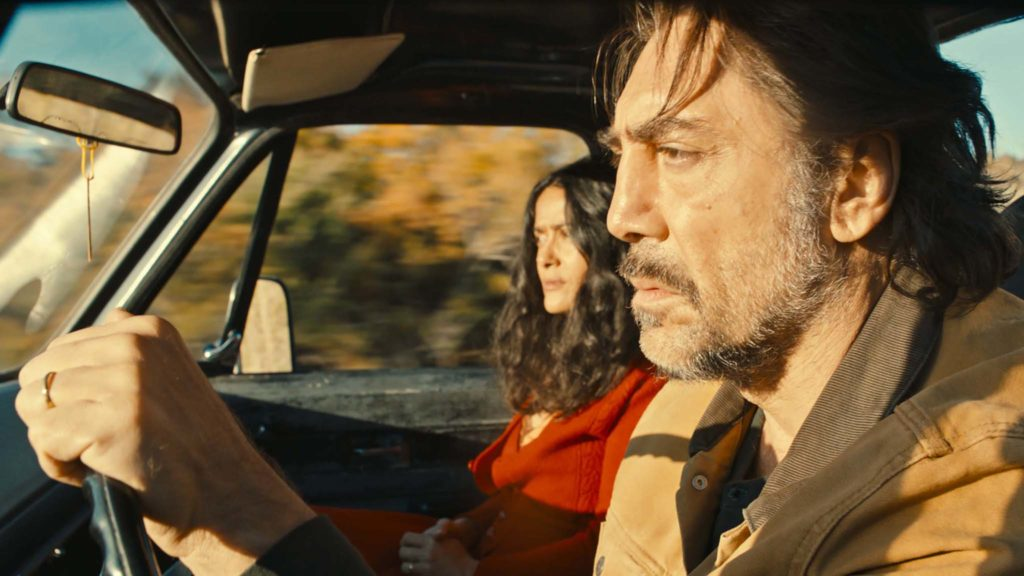 Salma Hayek as Dolores and Javier Bardem as Leo in The Roads Not Taken, directed by Sally Potter. Copyright: British Broadcasting Corporation/British Film Institute/Adventure Pictures. All Rights Reserved.