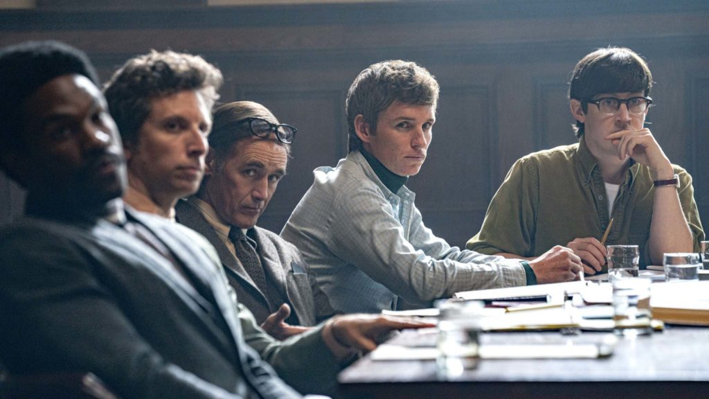 Yahya Abdul-Mateen II as Bobby Seale, Ben Shenkman as Leonard Weinglass, Mark Rylance as William Kuntsler, Eddie Redmayne as Tom Hayden and Alex Sharp as Rennie Davis in The Trial Of The Chicago 7, directed by Aaron Sorkin. Photo: Nico Tavernise. Copyright: 2020 Netflix, Inc. All Rights Reserved.