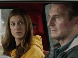 Kate Walsh as Annie Sumpter and Liam Neeson as Tom Carter in Honest Thief, directed by Mark Williams. Copyright: Signature Entertainment. All Rights Reserved.