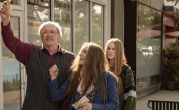 Richard Jenkins as Robert Dyne, Debra Winger as Theresa Dyne and Evan Rachel Wood as Old Dolio Dyne in Kajillionaire, directed by Miranda July. Photo: Matt Kennedy. Copyright: 2020 Focus Features, LLC. All Rights Reserved.