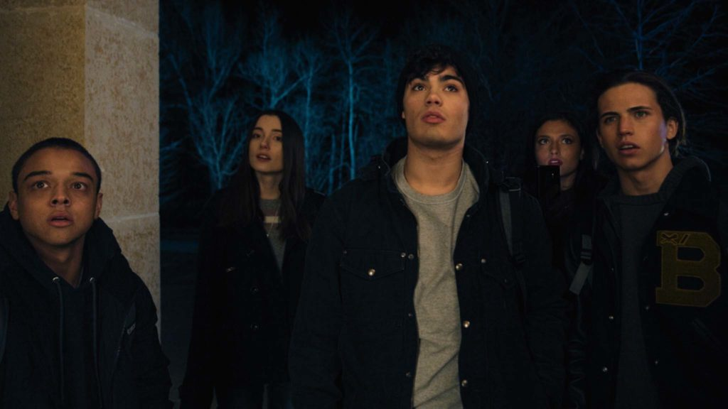 Jason Genao as Benny, Sydne Mikelle as Max Winslow, Emery Kelly as Aiden, Jade Chynoweth as Sophia and Tanner Buchanan as Connor in Max Winslow And The House Of Secrets, directed by Sean Olson. Copyright: Munro Film Services. All Rights Reserved.