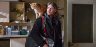 Bob the cat as himself and Luke Treadaway as James Bowen in A Christmas Gift From Bob. Photo: Andreas Lambis. Copyright: Lionsgate Films. All Rights Reserved.