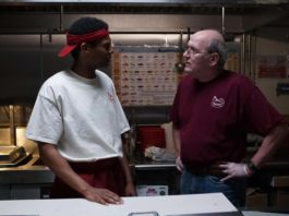 Shane Paul McGhie as Jevon and Richard Jenkins as Stanley in The Last Shift, directed by Andrew Cohn. Copyright: Sony Pictures Releasing. All Rights Reserved.