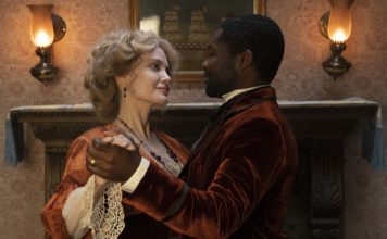 Angelina Jolie stars as Rose Littleton and David Oyelowo as Jack Littleton in Come Away, directed by Brenda Chapman. Photo: Hilary B Gayle/SMPSP. Copyright: Maginot Line, LLC 2020. All Rights Reserved.