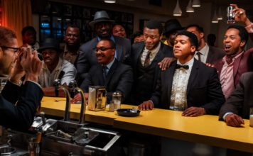Kingsley Ben-Adir as Malcolm X, Aldis Hodge as Jim Brown, Eli Goree as Muhammad Ali and Leslie Odom Jr as Sam Cooke in One Night In Miami..., directed by Regina King. Photo: Patti Perret. Copyright: Amazon Studios. All Rights Reserved.