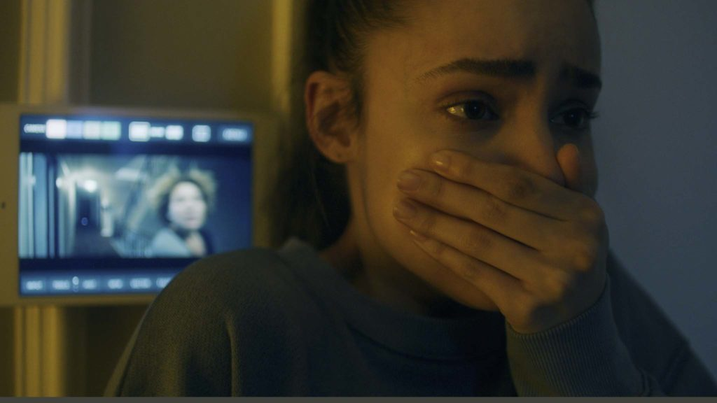 Sofia Carson as Sara in Songbird, directed by Adam Mason. Copyright: 2020 STX Financing, LLC. All Rights Reserved.