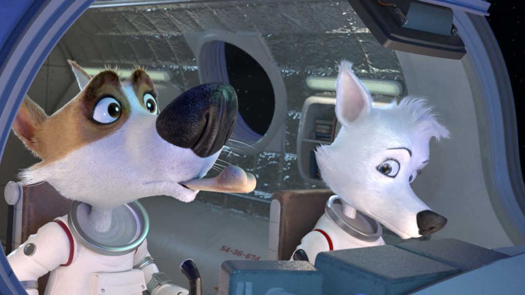 Strelka (voiced by Mauriett Chayeb-Mendez) and Belka (Maria Antonieta Monge) in Space Dogs: Return To Earth, directed by Inna Evlannikova. Copyright: Signature Entertainment. All Rights Reserved.