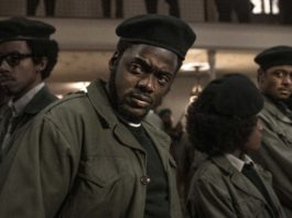 Darrell Britt-Gibson as Bobby Rush, Daniel Kaluuya as chairman Fred Hampton, Dominique Thorne as Judy Harmon and LaKeith Stanfield as Bill O'Neal in Judas And The Black Messiah, directed by Shaka King. Photo: Glen Wilson. Copyright: 2019 Warner Bros. Entertainment Inc. All Rights Reserved.