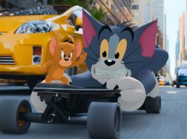 Jerry and Tom in Tom & Jerry The Movie, directed by Tim Story. Photo: courtesy Warner Bros. Pictures. Copyright: 2021 Warner Bros. Entertainment Inc. All Rights Reserved.