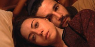 Aubrey Plaza as Allison and Christopher Abbott as Gabe in Black Bear, directed by Lawrence Michael Levine. Copyright: Vertigo Releasing. All Rights Reserved.