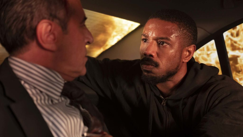 Merab Ninidze as Andre Vaseliev and Michael B Jordan as John Clark in Tom Clancy's Without Remorse, directed by Stefano Sollima. Photo: Nadka Klier. Copyright: 2020 Paramount Pictures/Amazon Studios. All Rights Reserved.