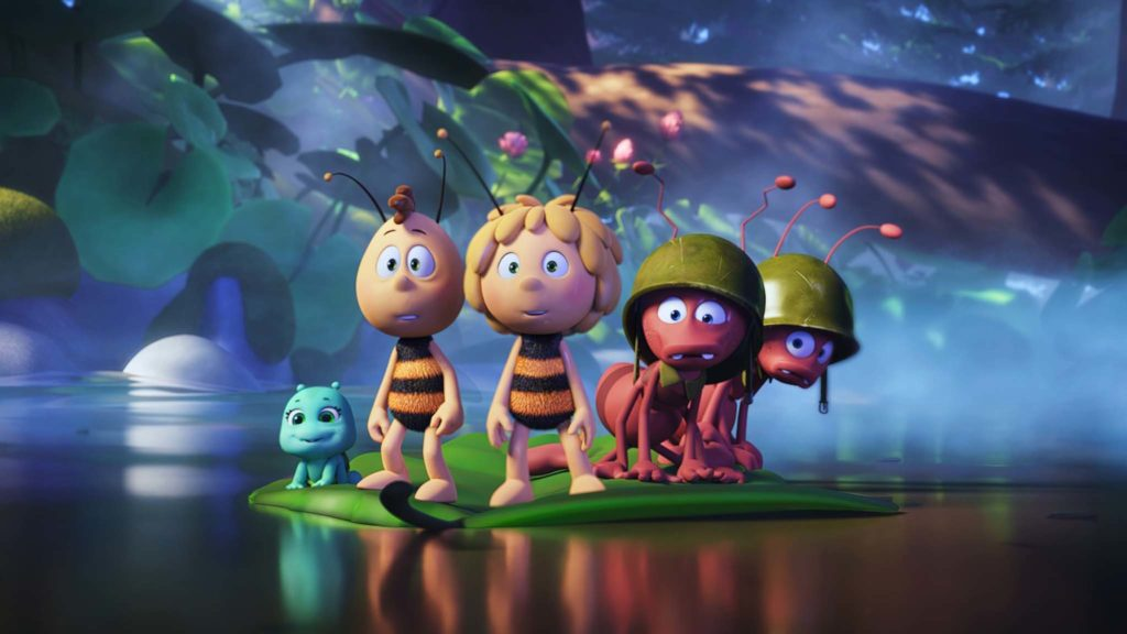 The baby ant princess, Willi (voiced by Benson Jack Anthony), Maya (Coco Jack Gillies), Arnie (David Collins) and Barney (Shane Dundas) in Maya The Bee The Golden Orb, directed by Noel Cleary. Copyright: Kaleidoscope Entertainment. All Rights Reserved.