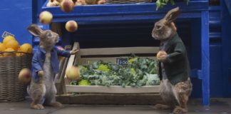 Peter Rabbit (James Corden) and Barnabus (Lennie James) in Peter Rabbit 2, directed by Will Gluck. Copyright: 2020 CTMG. All Rights Reserved. PETER RABBIT and all associated characters copyright: Frederick Warne & Co Limited.