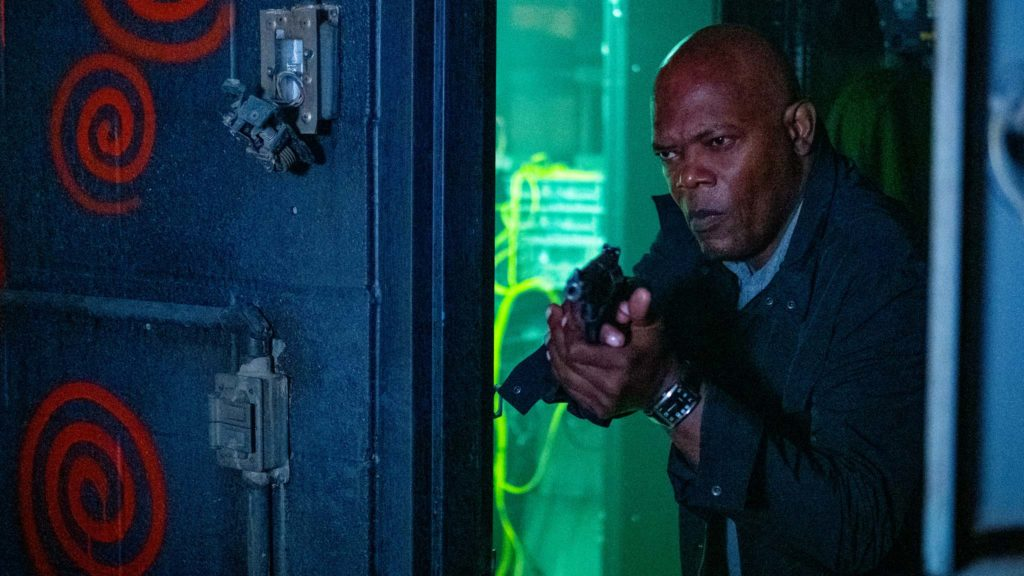 Samuel L Jackson as Marcus in Spiral: From The Book Of Saw, directed by Darren Lynn Bousman. Photo: Brooke Palmer. Copyright: Lionsgate Films. All Rights Reserved.