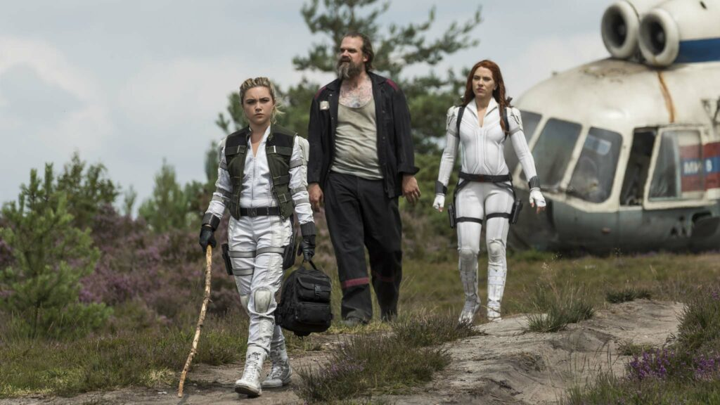 Florence Pugh as Yelena, David Harbour as Alexei and Scarlett Johansson as Black Widow/Natasha Romanoff in Black Widow, directed by Cate Shortland. Photo: Jay Maidment. Copyright: 2021 Marvel Studios. All Rights Reserved.