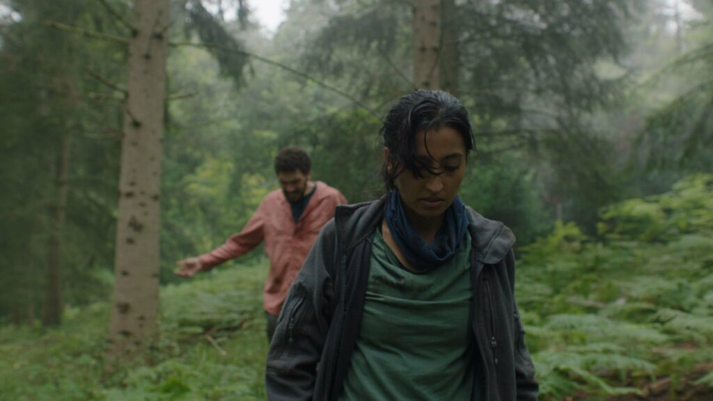 Joel Fry as Martin Lowery and Ellora Torchia as Alma in In The Earth, directed by Ben Wheatley. Copyright: Universal Pictures. All Rights Reserved.