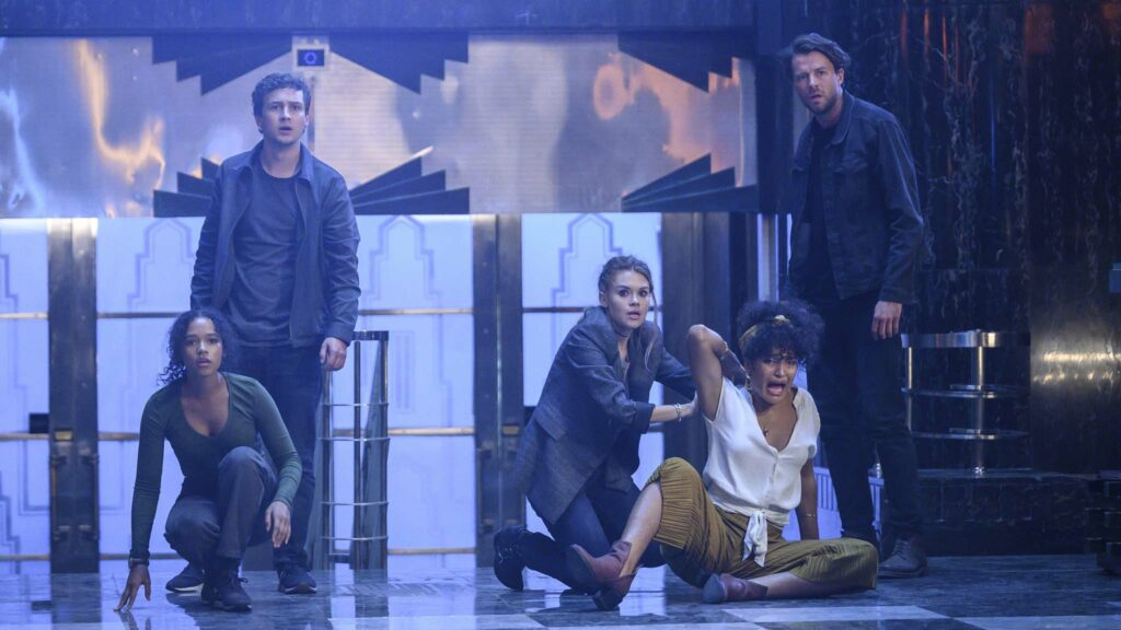 Taylor Russell as Zoey Davis, Logan Miller as Ben Miller, Holland Roden as Rachel, Indya Moore as Brianna and Thomas Cocquerel as Nathan in Escape Room: Tournament Of Champions, directed by Adam Robitel. Photo: David Bloomer. Copyright: 2021 CTMG, Inc. All Rights Reserved.