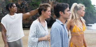 Aaron Pierre as Mid-Sized Sedan, Vicky Krieps as Prisca, Gael García Bernal as Guy and Abbey Lee as Chrystal in Old, directed by M Night Shyamalan. Photo: Phobymo. Copyright: 2021 Universal Studios. All Rights Reserved.
