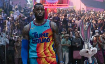 LeBron James and Bugs Bunny in Space Jam: A New Legacy, directed by Malcolm D Lee. Photo: courtesy of Warner Bros. Pictures. Copyright: 2021 Warner Bros. Entertainment Inc. All Rights Reserved.