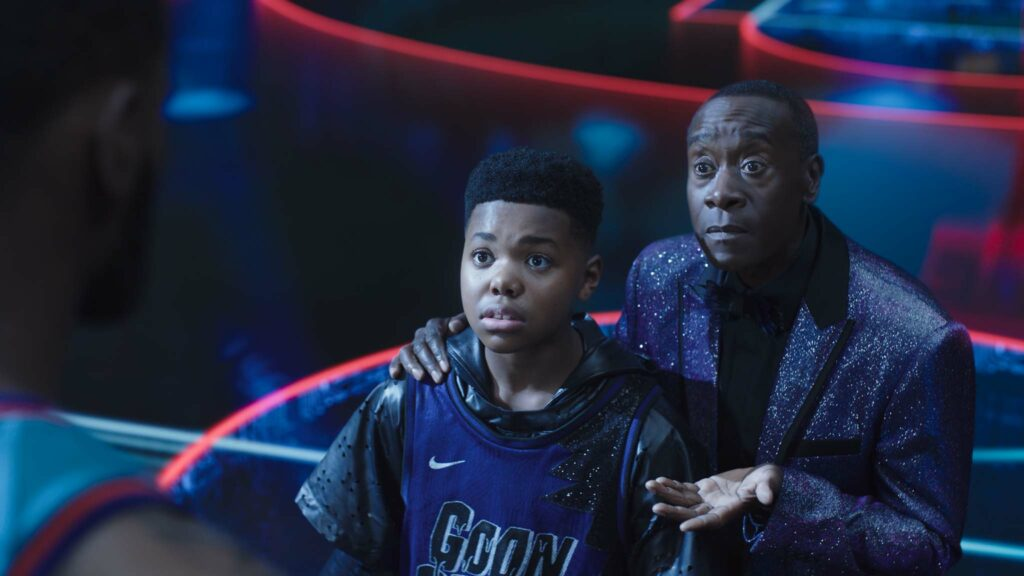LeBron James, Cedric Joe as Dom James and Don Cheadle as Al-G Rhythm in Space Jam: A New Legacy, directed by Malcolm D Lee. Photo: courtesy of Warner Bros. Pictures. Copyright: 2021 Warner Bros. Entertainment Inc. All Rights Reserved.
