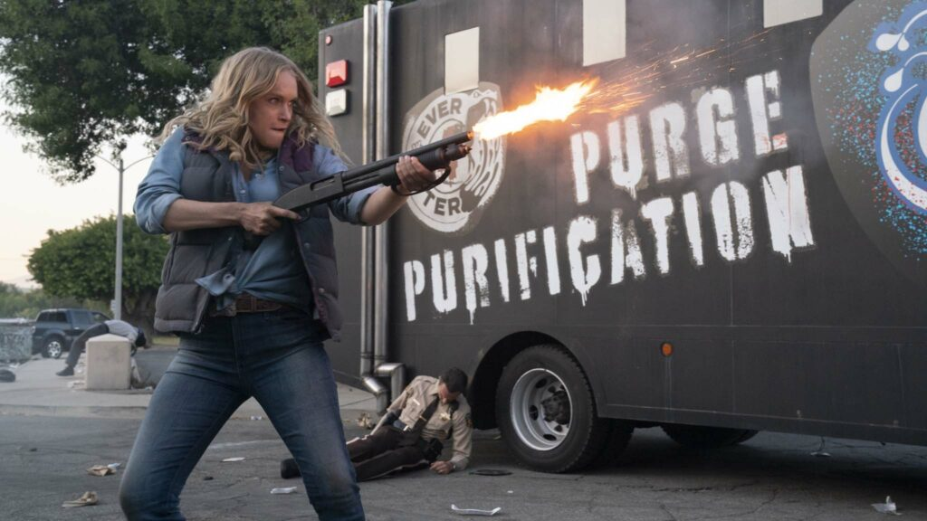 Leven Rambin as Harper Tucker in The Forever Purge, directed by Everardo Valerio Gout. Photo: Jake Giles Netter. Copyright: 2021 Universal Studios. All Rights Reserved.